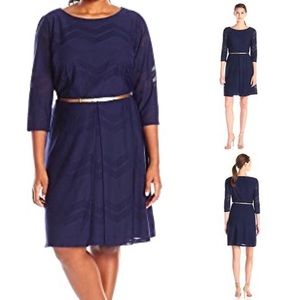 London Times Chevron Fit and Flare Navy Dress